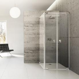 Hüppe Studio Berlin pure two-way door with side panel clear glass with ANTI-PLAQUE / shiny chrome