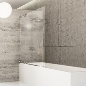 HÜPPE Studio Berlin pure bath screen 1 piece and fixed segment clear glass with ANTI-PLAQUE / shiny chrome