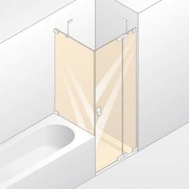 Hüppe Studio Berlin pure swing door with fixed segment and short side panel clear glass with ANTI-PLAQUE / shiny chrome