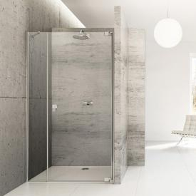 HÜPPE Studio Berlin pure swing door with adjacent piece in recess clear glass with ANTI-PLAQUE / shiny chrome