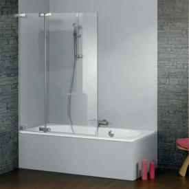 HÜPPE Studio Paris elegance bath screen 1 piece and fixed segment clear glass with ANTI-PLAQUE / shiny chrome