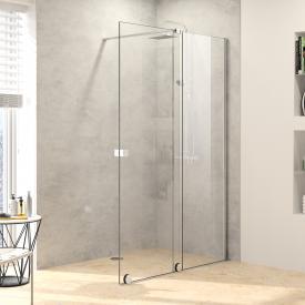 HÜPPE Xtensa pure Porte coulissante pour douche à l'italienne, 1 élément avec segment fixe Verre trempé avec ANTI-PLAQUE/argent ultra brillant