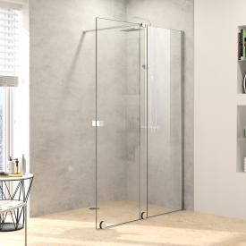 HÜPPE Xtensa pure Porte coulissante pour douche à l'italienne, 1 élément avec segment fixe Verre trempé transparent avec ANTI-PLAQUE/argent ultra brillant