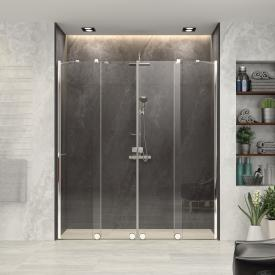 HÜPPE Xtensa pure sliding door corner entry 2 piece with 2 fixed segments TSG clear / silver high gloss