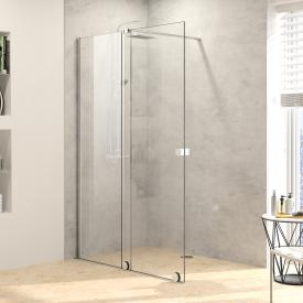 HÜPPE Xtensa pure Walk In sliding door with fixed segment and Select+ Kit TSG clear with ANTI-PLAQUE / silver high gloss