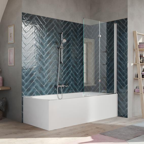 HÜPPE 501 Design pure bath screen clear glass with ANTI-PLAQUE / shiny chrome
