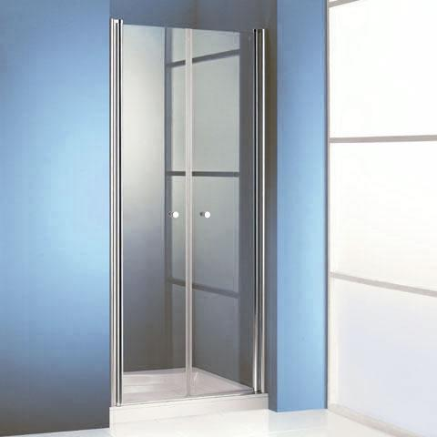 Hüppe 501 Design pure two-way door in recess clear glass with ANTI-PLAQUE / matt silver