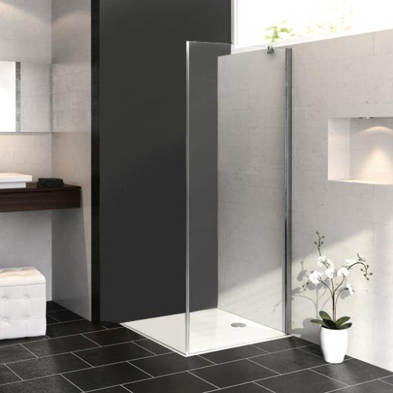 HÜPPE Aura elegance side panel TSG clear with ANTI-PLAQUE / matt silver