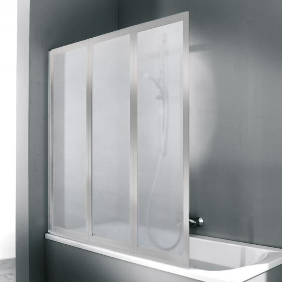 Hüppe Combinett 2 bath screen, 3 piece acrylic glass Pacific S clear without ANTI-PLAQUE / matt silver
