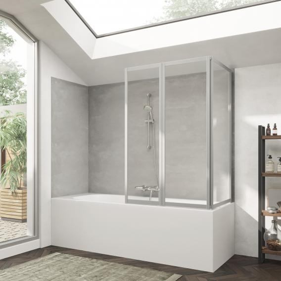 HÜPPE Combinett 2 bath screen with wide first segment clear glass with ANTI-PLAQUE / matt silver