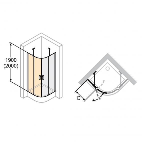 HÜPPE Design elegance quadrant swing door with fixed segment, 2 wing TSG clear / matt silver