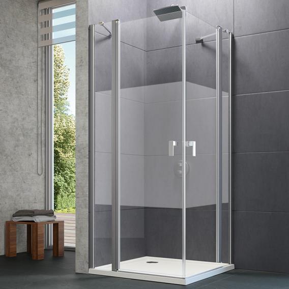 Hüppe Design pure swing door with fixed segment TSG privatima with ANTI-PLAQUE / matt silver