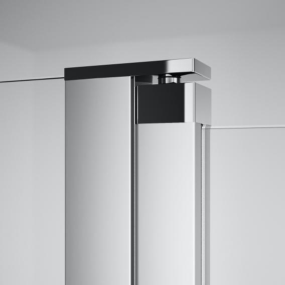 HÜPPE Design pure swing door with fixed segment with inwards/outwards opening for combination with side panel TSG clear / matt silver