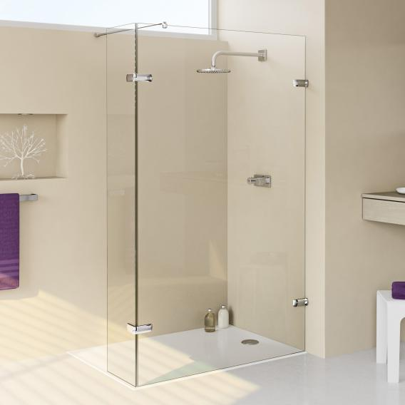 HÜPPE Enjoy elegance frameless Walk In side panel with moving segment TSG privatima with ANTI-PLAQUE / chrome