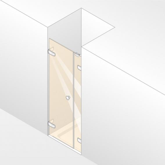 HÜPPE Enjoy pure frameless swing door with side piece in recess TSG clear / chrome