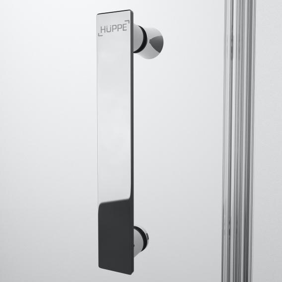 HÜPPE Solva pure partially framed swing door with fixed segment in recess TSG clear / chrome