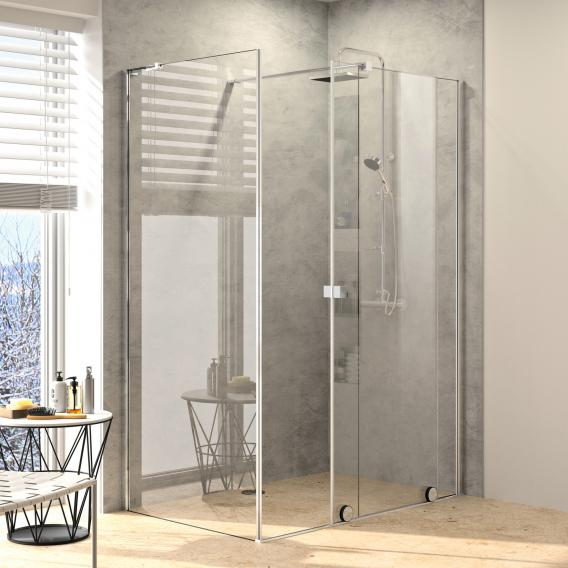 Hüppe Xtensa pure side panel for Walk In sliding door 1 piece with fixed segment TSG clear with ANTI-PLAQUE / silver high gloss