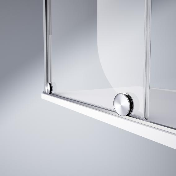HÜPPE Xtensa pure sliding door corner entry 1 piece with fixed segment and adjacent piece TSG clear with ANTI-PLAQUE / silver high gloss