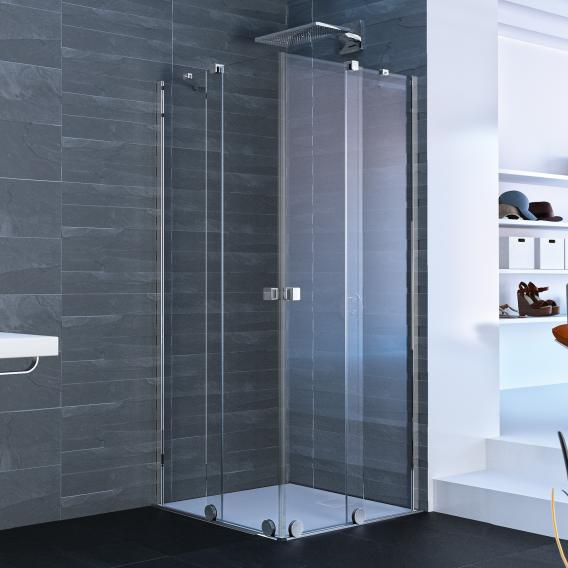 HÜPPE Xtensa pure sliding door corner entry 2 piece TSG clear with ANTI-PLAQUE / silver high gloss