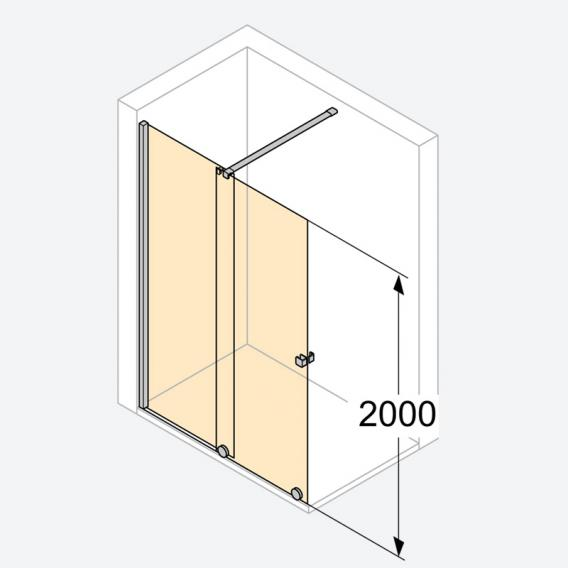 Hüppe Xtensa pure Walk In sliding door 1 piece with fixed segment TSG clear with ANTI-PLAQUE / silver high gloss