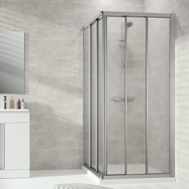 HÜPPE Alpha 2 framed sliding door 3 part for corner entry acrylic glass pacific S clear / matt silver