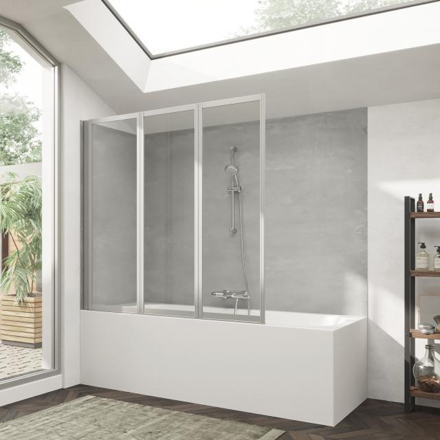 HÜPPE Combinett 2 bath screen, 3 piece clear glass with ANTI-PLAQUE / matt silver