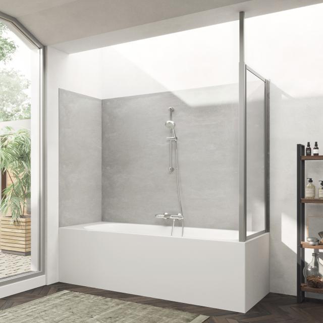 HÜPPE Combinett 2 bath screen side panel clear glass with ANTI-PLAQUE / matt silver