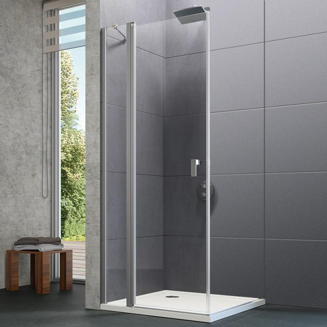 HÜPPE Design pure swing door with fixed segments TSG clear with ANTI-PLAQUE / matt silver