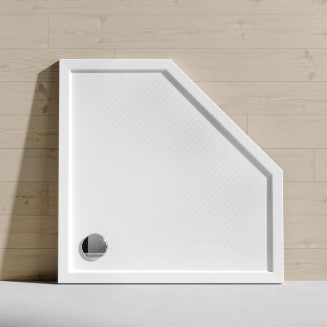 HÜPPE Purano pentagonal shower tray with anti-slip white