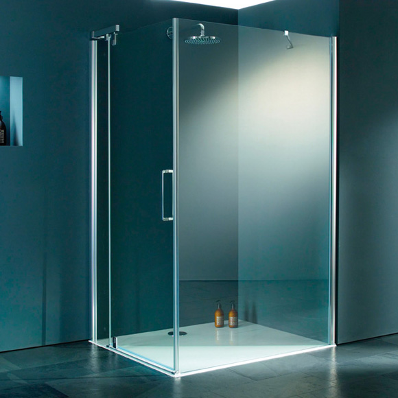 HÜPPE Refresh pure rectangular swing door with fixed segment for side panel TSG clear with ANTI-PLAQUE / silver high gloss