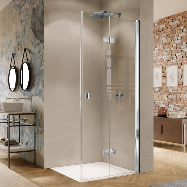 HÜPPE Solva bi-fold door for corner entry TSG clear / silver high gloss