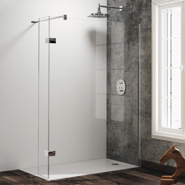 HÜPPE Solva pure partially framed walk-in side panel with movable segment TSG clear / silver high gloss