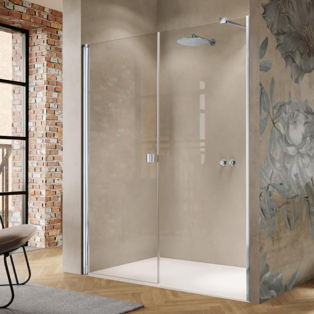 HÜPPE Solva swing door with adjacent piece in recess TSG clear / silver high gloss
