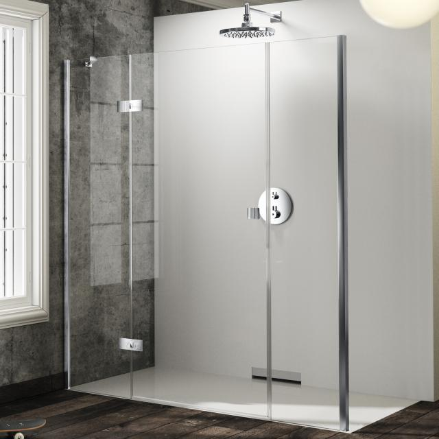 HÜPPE Solva swing door with fixed segment and adjacent piece for side panel TSG clear / silver high gloss