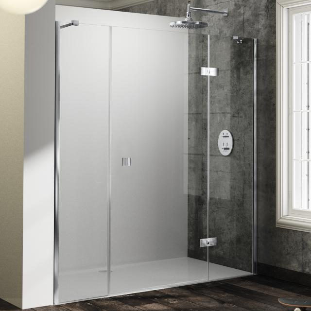 HÜPPE Solva swing door with fixed segment and adjacent piece in recess TSG clear / silver high gloss