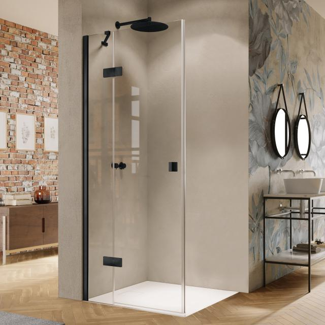 HÜPPE Solva swing door with fixed segment for corner entry TSG clear / black edition