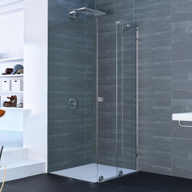 HÜPPE Xtensa pure sliding door corner entry 2 piece TSG clear / silver high gloss