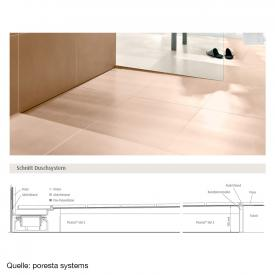 poresta systems Slot S shower element for horizontal drain, right with tile profile 1.2 cm