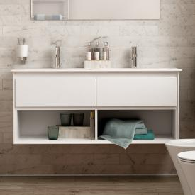 Ideal Standard Connect Air double vanity unit, 2 pull-out compartments, 2 open compartments front white gloss / corpus white gloss/matt white