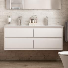 Ideal Standard Connect Air Meuble sous-lavabo pour lavabo double avec 4 tiroirs Façade blanc brillant/corps du meuble blanc brillant/blanc mat