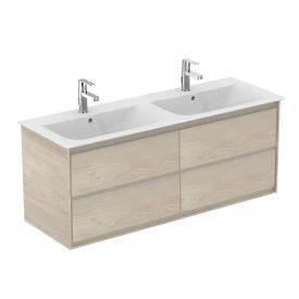 Ideal Standard Connect Air vanity unit for double washbasin with 4 pull-out compartments front light pine decor / corpus light pine decor/matt brown