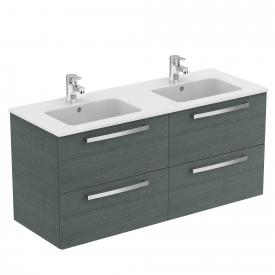 Ideal Standard Eurovit Plus washbasin with vanity unit with 4 pull-out compartments front anthracite oak decor/corpus anthracite oak decor