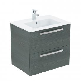 Ideal Standard Eurovit Plus washbasin with vanity unit with 2 pull-out compartments front anthracite oak decor/corpus anthracite oak decor