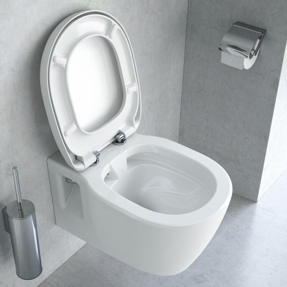 Ideal Standard Connect wall-mounted washdown toilet, white, rimless, with toilet seat white, with Ideal Plus