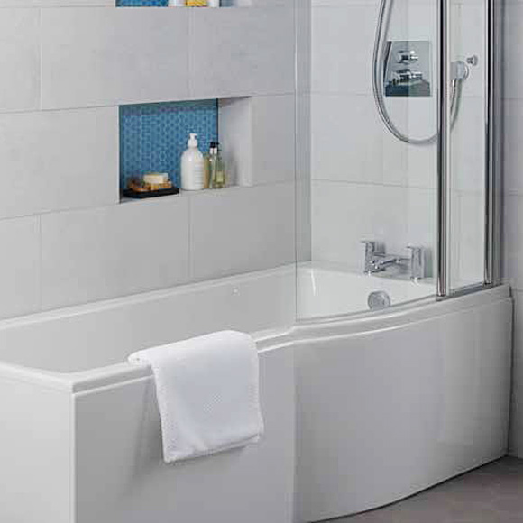 Ideal Standard Connect Air rectangular bath with shower zone, built-in