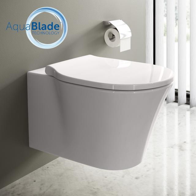 Ideal Standard Connect Air toilet combi pack, wall-mounted washdown toilet, AquaBlade, with toilet seat white, with Ideal Plus