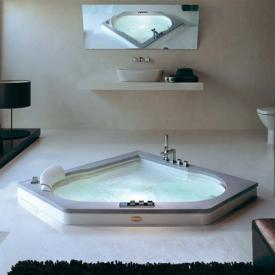 Jacuzzi AURA CORNER 140 WOOD corner whirlpool with panelling, with wooden plinth teak, without integrated bath filler