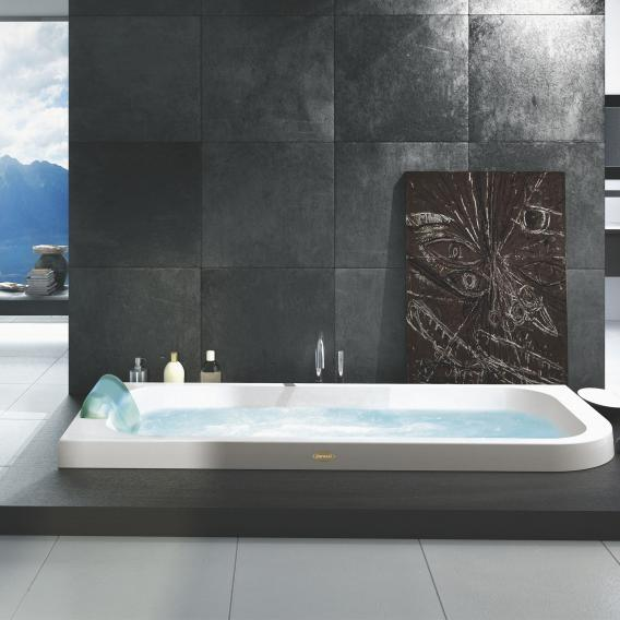 Jacuzzi AQUASOUL corner-mounted whirlpool without panel, left corner installation white, without integrated water inlet, with Rainbow