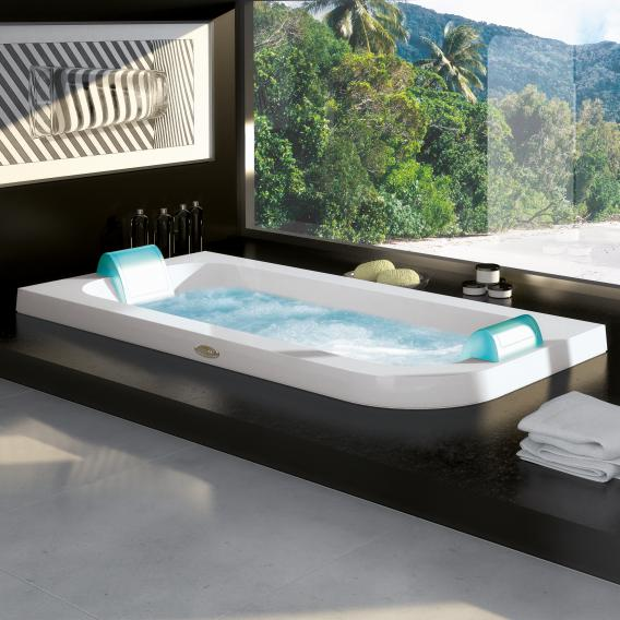 Jacuzzi AQUASOUL DOUBLE corner-mounted whirlpool without panel, left corner installation white, without integrated water inlet, with Rainbow