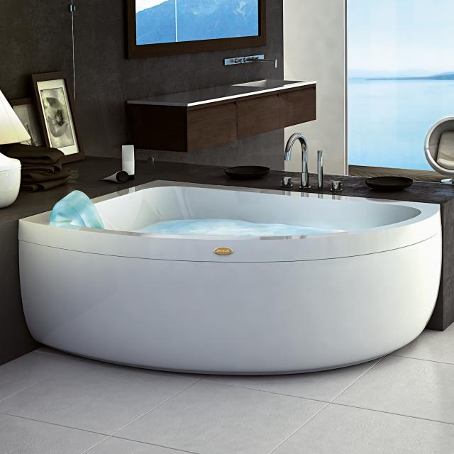 Jacuzzi AQUASOUL OFFSET corner whirlbath with panelling without integrated water inlet, with Rainbow